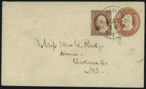 Sale Number 996, Lot Number 3161, 3c Dull Red Shades - Covers and Groups3c 1851-57 Issues, Green Cancels on Cover (11/26), 3c 1851-57 Issues, Green Cancels on Cover (11/26)
