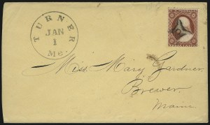 Sale Number 996, Lot Number 3162, 3c Dull Red Shades - Covers and Groups3c 1851-57 Issues, Unusual Town Cancels on Cover (11/26), 3c 1851-57 Issues, Unusual Town Cancels on Cover (11/26)