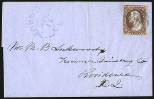 "Sale Number 996, Lot Number 3166, 3c Dull Red Shades - Covers and Groups3c 1851 Issue, Imitation Boston ""Paid"" Cancels (11-11A), 3c 1851 Issue, Imitation Boston ""Paid"" Cancels (11-11A)"