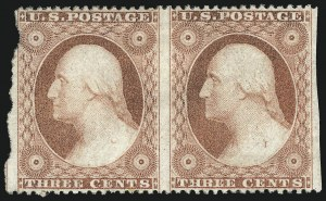 Sale Number 996, Lot Number 3223, 1857 3c Perforated Issue - Type III Flaws and Varieties3c Dull Red, Ty. III, Imperforate Vertically (26b), 3c Dull Red, Ty. III, Imperforate Vertically (26b)