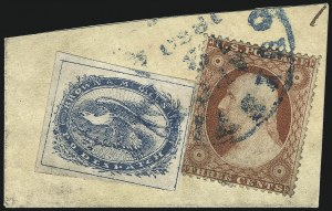 Sale Number 996, Lot Number 3249, 1857 3c Perforated Issue - Type III Carrier & Local CombinationsBrown & McGill's U.S.P.O. Despatch, Louisville Ky., (2c) Blue (5LB2), Brown & McGill's U.S.P.O. Despatch, Louisville Ky., (2c) Blue (5LB2)