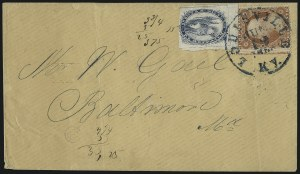 Sale Number 996, Lot Number 3250, 1857 3c Perforated Issue - Type III Carrier & Local CombinationsBrown & McGill's U.S.P.O. Despatch, Louisville Ky., (2c) Blue (5LB2), Brown & McGill's U.S.P.O. Despatch, Louisville Ky., (2c) Blue (5LB2)
