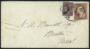 Sale Number 996, Lot Number 3251, 1857 3c Perforated Issue - Type III Carrier & Local CombinationsBrooklyn City Express Post, Brooklyn N.Y., 2c Black on Pink (28L4), Brooklyn City Express Post, Brooklyn N.Y., 2c Black on Pink (28L4)