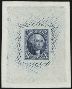 Sale Number 997, Lot Number 5002, Essays and Proofs - 1847 thru 1861 Issues10c Blue, 1847 Issue, Large Die Trial Color Proof on India (2TC1), 10c Blue, 1847 Issue, Large Die Trial Color Proof on India (2TC1)