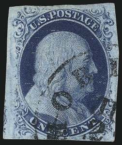 Sale Number 997, Lot Number 5134, 1c 1851-56 Issue (Scott 5-9)1c Blue, Ty. IIIa (8A), 1c Blue, Ty. IIIa (8A)