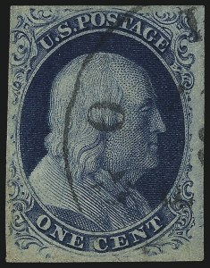 Sale Number 997, Lot Number 5138, 1c 1851-56 Issue (Scott 5-9)1c Blue, Ty. IIIa (8A), 1c Blue, Ty. IIIa (8A)