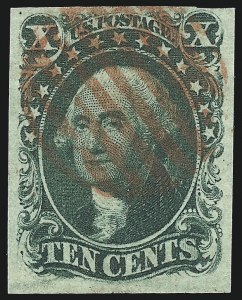Sale Number 997, Lot Number 5186, 10c and 12c 1851-56 Issue (Scott 13-17)10c Green, Ty. II (14), 10c Green, Ty. II (14)