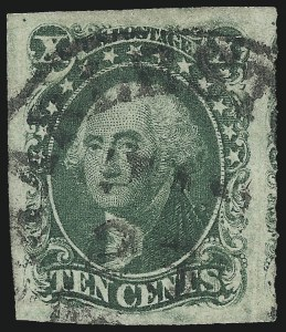 Sale Number 997, Lot Number 5187, 10c and 12c 1851-56 Issue (Scott 13-17)10c Green, Ty. II (14), 10c Green, Ty. II (14)