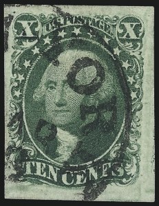 Sale Number 997, Lot Number 5188, 10c and 12c 1851-56 Issue (Scott 13-17)10c Green, Ty. II (14), 10c Green, Ty. II (14)