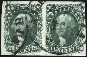 Sale Number 997, Lot Number 5190, 10c and 12c 1851-56 Issue (Scott 13-17)10c Green, Ty. II (14), 10c Green, Ty. II (14)