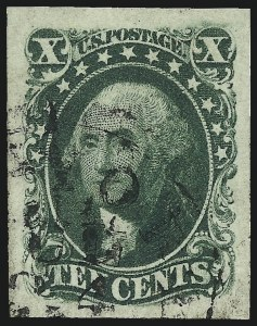 Sale Number 997, Lot Number 5193, 10c and 12c 1851-56 Issue (Scott 13-17)10c Green, Ty. III (15), 10c Green, Ty. III (15)