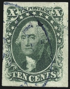 Sale Number 997, Lot Number 5194, 10c and 12c 1851-56 Issue (Scott 13-17)10c Green, Ty. III (15), 10c Green, Ty. III (15)