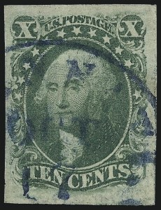 Sale Number 997, Lot Number 5195, 10c and 12c 1851-56 Issue (Scott 13-17)10c Green, Ty. III (15), 10c Green, Ty. III (15)