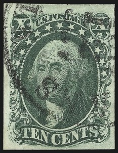 Sale Number 997, Lot Number 5196, 10c and 12c 1851-56 Issue (Scott 13-17)10c Green, Ty. III (15), 10c Green, Ty. III (15)