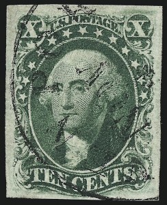 Sale Number 997, Lot Number 5197, 10c and 12c 1851-56 Issue (Scott 13-17)10c Green, Ty. IV (16), 10c Green, Ty. IV (16)