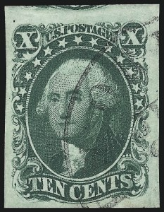 Sale Number 997, Lot Number 5198, 10c and 12c 1851-56 Issue (Scott 13-17)10c Green, Ty. IV (16), 10c Green, Ty. IV (16)