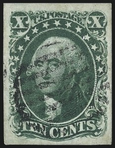 Sale Number 997, Lot Number 5200, 10c and 12c 1851-56 Issue (Scott 13-17)10c Green, Ty. IV (16), 10c Green, Ty. IV (16)