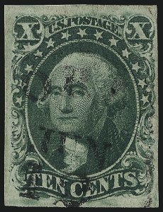 Sale Number 997, Lot Number 5202, 10c and 12c 1851-56 Issue (Scott 13-17)10c Green, Ty. IV (16), 10c Green, Ty. IV (16)