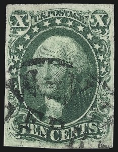 Sale Number 997, Lot Number 5203, 10c and 12c 1851-56 Issue (Scott 13-17)10c Green, Ty. IV (16), 10c Green, Ty. IV (16)