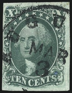 Sale Number 997, Lot Number 5205, 10c and 12c 1851-56 Issue (Scott 13-17)10c Green, Ty. IV (16), 10c Green, Ty. IV (16)