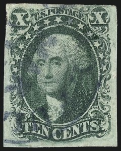Sale Number 997, Lot Number 5206, 10c and 12c 1851-56 Issue (Scott 13-17)10c Green, Ty. IV (16), 10c Green, Ty. IV (16)