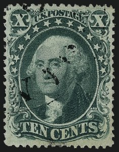 Sale Number 997, Lot Number 5277, 10c 1857-60 Issue (Scott 31-35)10c Green, Ty. IV (34), 10c Green, Ty. IV (34)