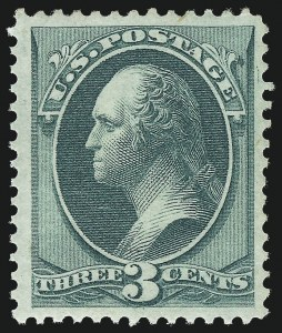 Sale Number 997, Lot Number 5574, 1873 Continental Bank Note Co. Issue (Scott 156-166)3c Green (158). Mint N.H, 3c Green (158). Mint N.H