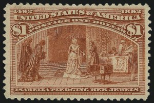 Sale Number 997, Lot Number 5698, 1893 Columbian Issue (10c thru $1.00, Scott 237-241)$1.00 Columbian (241), $1.00 Columbian (241)