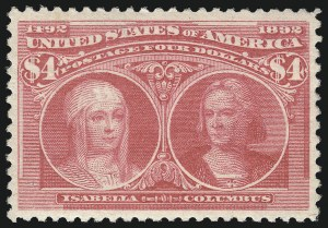 Sale Number 997, Lot Number 5720, 1893 Columbian Issue ($2.00 thru $5.00, Scott 242-245)$4.00 Rose Carmine, Columbian (244a), $4.00 Rose Carmine, Columbian (244a)