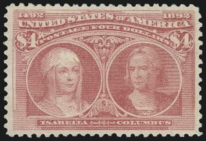 Sale Number 997, Lot Number 5725, 1893 Columbian Issue ($2.00 thru $5.00, Scott 242-245)$4.00 Rose Carmine, Columbian (244a), $4.00 Rose Carmine, Columbian (244a)
