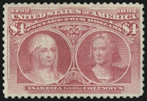Sale Number 997, Lot Number 5726, 1893 Columbian Issue ($2.00 thru $5.00, Scott 242-245)$4.00 Rose Carmine, Columbian (244a), $4.00 Rose Carmine, Columbian (244a)
