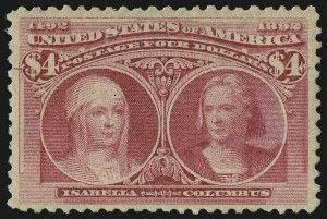 Sale Number 997, Lot Number 5728, 1893 Columbian Issue ($2.00 thru $5.00, Scott 242-245)$4.00 Rose Carmine, Columbian (244a), $4.00 Rose Carmine, Columbian (244a)