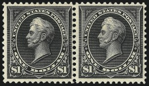 Sale Number 997, Lot Number 5783, 1895 Watermarked Bureau Issue (Scott 264-284)$1.00 Black, Ty. I-II (276-276A), $1.00 Black, Ty. I-II (276-276A)