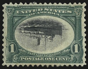 Sale Number 997, Lot Number 5824, 1901 Pan-American Issue Inverts (Scott 294a, 295a, 296a)1c Pan-American, Center Inverted (294a), 1c Pan-American, Center Inverted (294a)