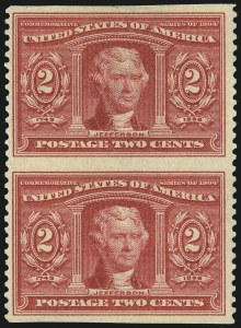 Sale Number 997, Lot Number 5867, 1904 Louisiana Purchase, Jamestown Issues (Scott 323-330)2c Louisiana Purchase, Vertical Pair, Imperforate Horizontally (324a), 2c Louisiana Purchase, Vertical Pair, Imperforate Horizontally (324a)