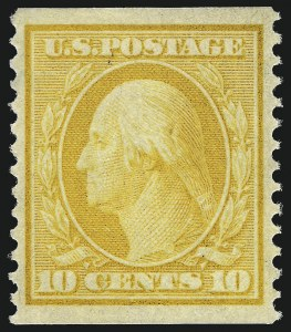 Sale Number 997, Lot Number 5909, 1908-10 Washington-Franklin Issues (Scott 331-356)10c Yellow, Coil (356), 10c Yellow, Coil (356)