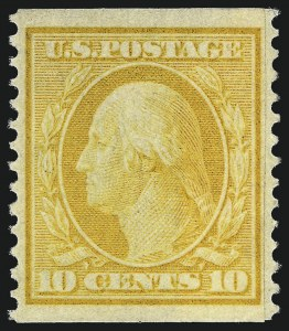Sale Number 997, Lot Number 5910, 1908-10 Washington-Franklin Issues (Scott 331-356)10c Yellow, Coil (356), 10c Yellow, Coil (356)