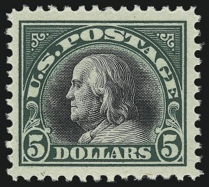 Sale Number 997, Lot Number 6069, 1917-19 Issues (Scott 481-524)$5.00 Deep Green & Black (524), $5.00 Deep Green & Black (524)