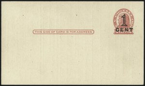 Sale Number 997, Lot Number 6437, The Falberg Collection of Postal Cards (UX28-UX39)1c on 2c Red on Buff, Die I, 1c on 2c Red on Cream, Die II, Postal Cards, Washington D.C. Press-Printed Surcharges (UX34-UX35; USPCC S46-1-S47-1), 1c on 2c Red on Buff, Die I, 1c on 2c Red on Cream, Die II, Postal Cards, Washington D.C. Press-Printed Surcharges (UX34-UX35; USPCC S46-1-S47-1)