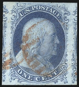 Sale Number 998, Lot Number 11, Plate One Early - Type II Gem Examples1c Blue, Ty. II (7), 1c Blue, Ty. II (7)