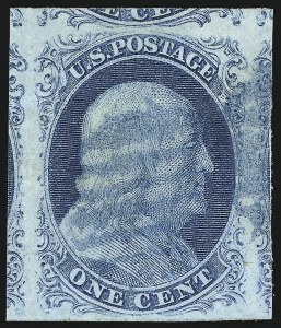 Sale Number 998, Lot Number 13, Plate One Early - Type II Gem Examples1c Blue, Ty. II (7), 1c Blue, Ty. II (7)