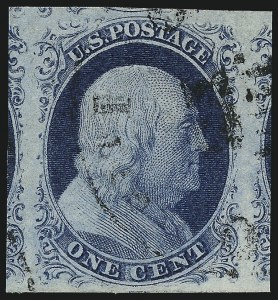 Sale Number 998, Lot Number 130, Plate One Late Gem Examples1c Blue, Ty. IV (9), 1c Blue, Ty. IV (9)