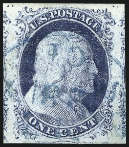 Sale Number 998, Lot Number 132, Plate One Late Gem Examples1c Blue, Ty. IV (9), 1c Blue, Ty. IV (9)
