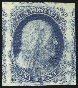 Sale Number 998, Lot Number 133, Plate One Late Gem Examples1c Blue, Ty. IV (9), 1c Blue, Ty. IV (9)