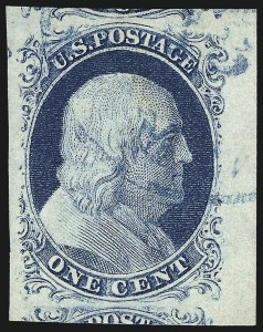Sale Number 998, Lot Number 134, Plate One Late Gem Examples1c Blue, Ty. IV (9), 1c Blue, Ty. IV (9)