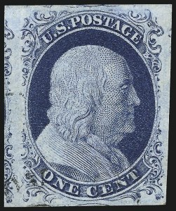 Sale Number 998, Lot Number 141, Plate One Late Gem Examples1c Blue, Ty. IV (9), 1c Blue, Ty. IV (9)