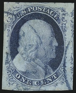 Sale Number 998, Lot Number 142, Plate One Late Gem Examples1c Blue, Ty. IV (9), 1c Blue, Ty. IV (9)
