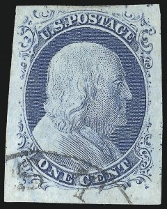 Sale Number 998, Lot Number 143, Plate One Late Gem Examples1c Blue, Ty. IV (9), 1c Blue, Ty. IV (9)