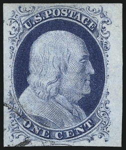 Sale Number 998, Lot Number 144, Plate One Late Gem Examples1c Blue, Ty. IV (9), 1c Blue, Ty. IV (9)