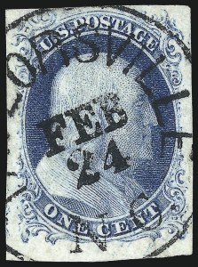 Sale Number 998, Lot Number 147, Plate One Late Gem Examples1c Blue, Ty. IV (9), 1c Blue, Ty. IV (9)